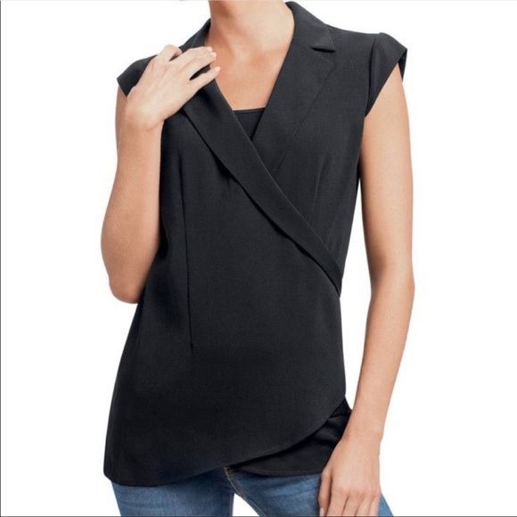 CAbi Origami Top #757 Cap Sleeves Faux Wrap Size S